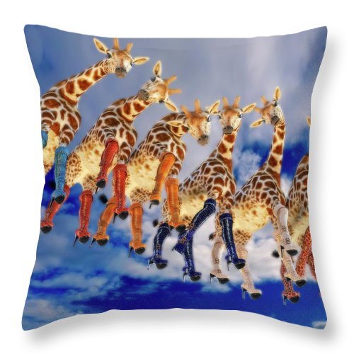 Surreal Throw Pillow featuring the digital art Curious Giraffes by Betsy Knapp