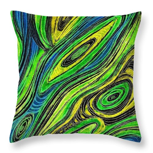 Line Throw Pillow featuring the painting Curved Lines 5 by Sarah Loft