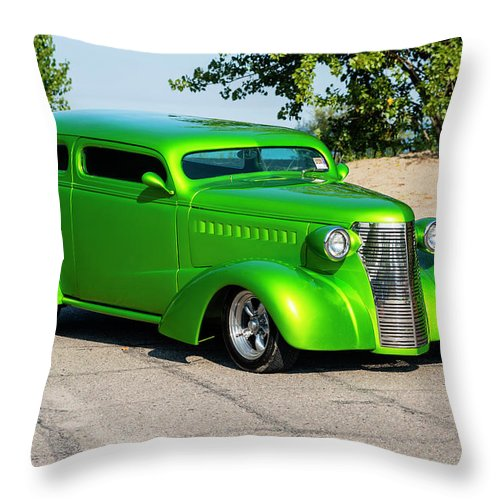 Horizontal Throw Pillow featuring the photograph Custom 1938 Chevrolet 2 Door Coach by Performance Image