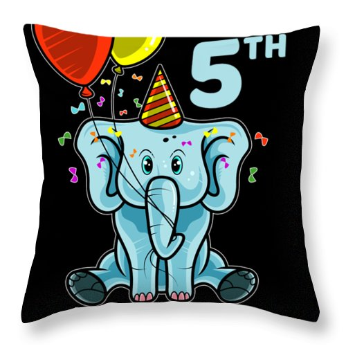 Fifth-birthday Throw Pillow featuring the digital art Cute 5th Fifth Birthday Elephant by Beth Scannell