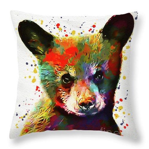 Bear Throw Pillow featuring the digital art Cute Baby Bear by Nikolay Radkov