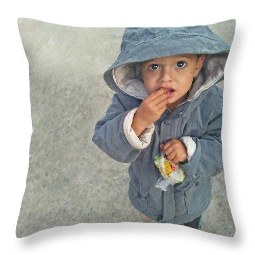 Cute Throw Pillow featuring the photograph Cute baby by Imran Khan