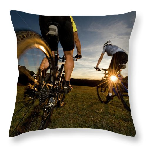 Blurred Motion Throw Pillow featuring the photograph Cycling Adventure by Gorfer