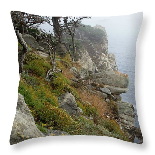 California Throw Pillow featuring the photograph Cypress Cliff by Marie Leslie
