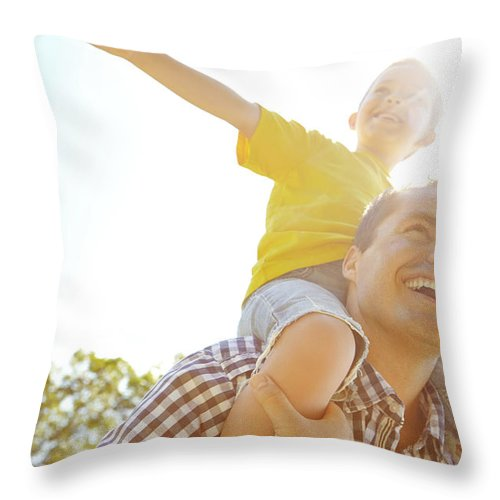 Human Arm Throw Pillow featuring the photograph Dad Makes Me Feel Like I Can Fly by Gradyreese