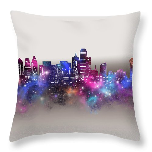 Dallas Throw Pillow featuring the digital art Dallas Skyline Galaxy by Bekim M