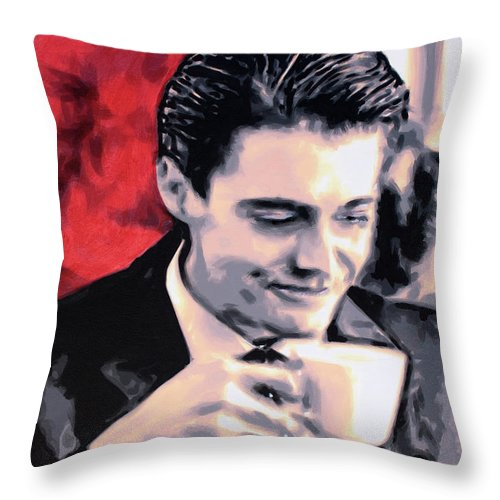 Laura Palmer Throw Pillow featuring the painting Damn Fine Cup Of Coffee by Hood alias Ludzska