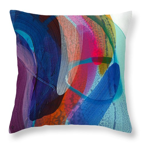 Abstract Throw Pillow featuring the painting Dancing In The Kitchen by Claire Desjardins