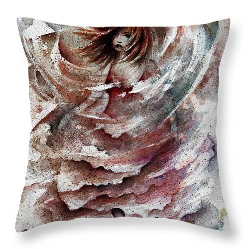 Figure Throw Pillow featuring the painting Dancing the Storms by William Russell Nowicki