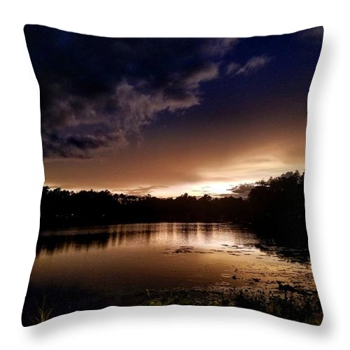 Sunset Throw Pillow featuring the photograph Dark Reflections by Shena Sanders