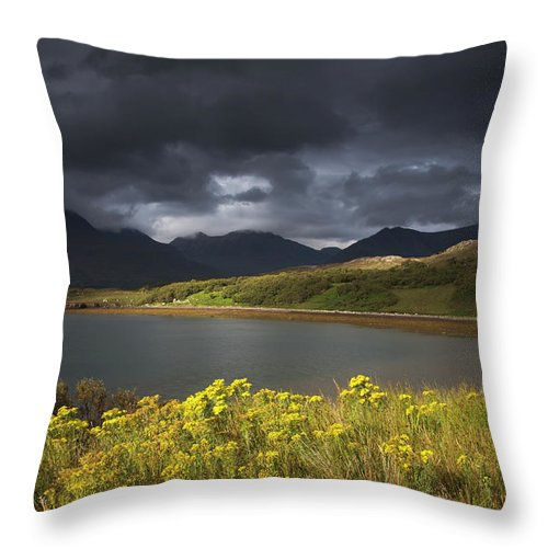 Tranquility Throw Pillow featuring the photograph Dark Storm Clouds Hang Over The by John Short / Design Pics