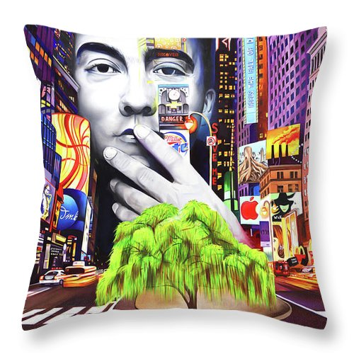 The Dave Matthews Band Throw Pillow featuring the painting Dave Matthews Dreaming Tree by Joshua Morton
