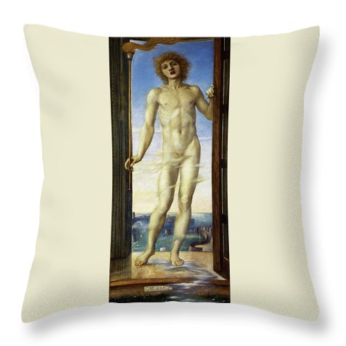 Day Throw Pillow featuring the painting Day - Digital Remastered Edition by Edward Burne-Jones