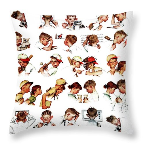 Baseball Throw Pillow featuring the drawing Day In The Life Of A Boy by Norman Rockwell