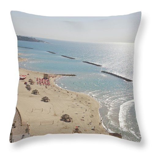 Tranquility Throw Pillow featuring the photograph Day View Of Tel Aviv Promenade And Beach by Barry Winiker