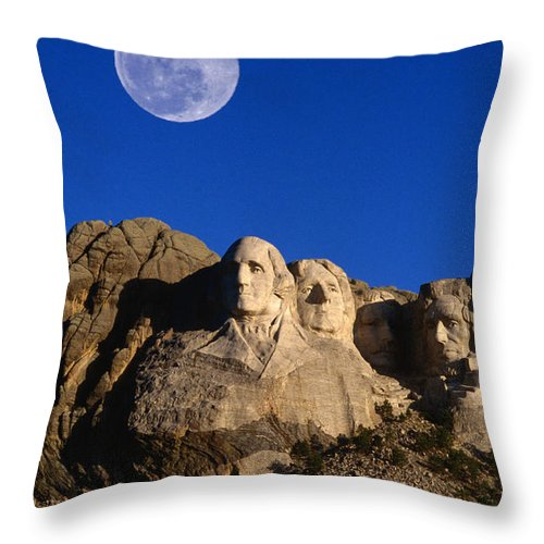 Mt Rushmore National Monument Throw Pillow featuring the photograph Daytime Moon Above Presidential Faces by Mark Newman