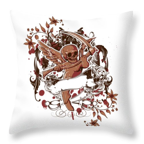 Goth Throw Pillow featuring the digital art Death Angel by Passion Loft