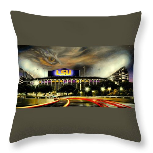 Art Throw Pillow featuring the painting Death Valley Game Time by Mike Roberts