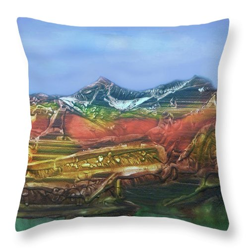Otto Rapp Throw Pillow featuring the digital art Decalcomania 2019-05-21 by Otto Rapp
