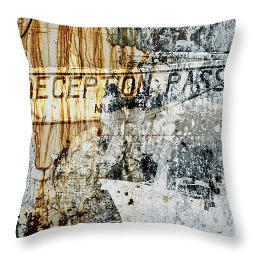 Deception Pass Throw Pillow featuring the mixed media Deception Pass Montage by Carol Leigh