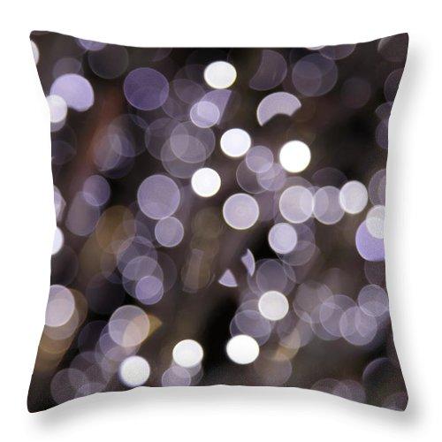 Funky Throw Pillow featuring the photograph Defocused Purple Light Dots by Sebastian-julian