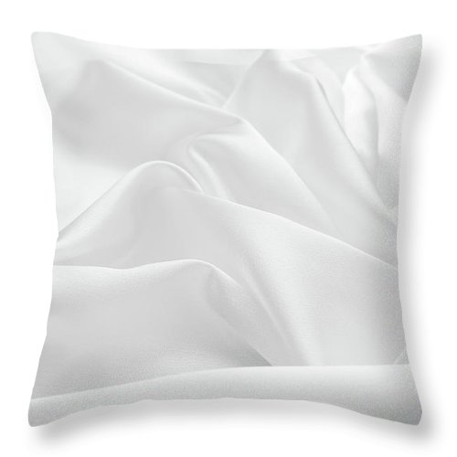 Curve Throw Pillow featuring the photograph Delicate White Satin Silk Background by Narcisa