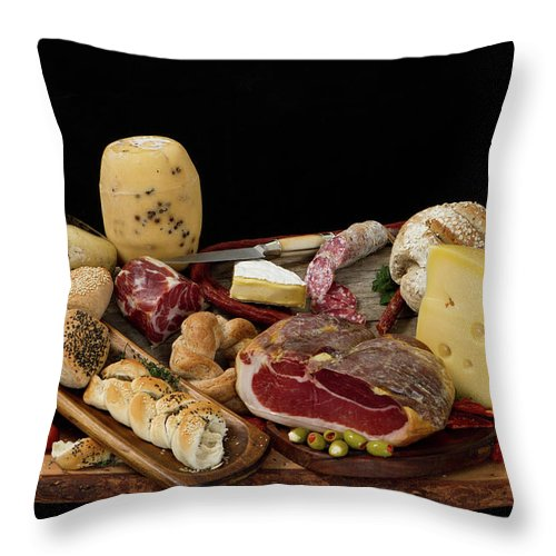 Cheese Throw Pillow featuring the photograph Delicious Typical Argentinean Antipasto by Ruizluquepaz