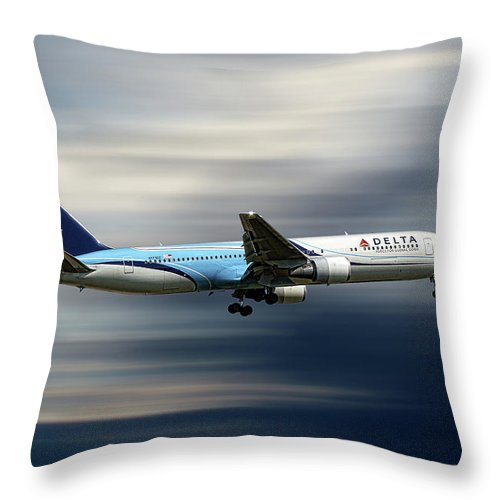 Delta Throw Pillow featuring the mixed media Delta Air Lines Boeing 767-332 by Smart Aviation