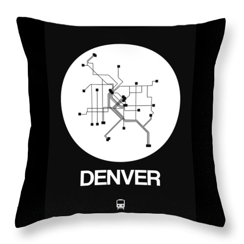 Vacation Throw Pillow featuring the digital art Denver White Subway Map by Naxart Studio