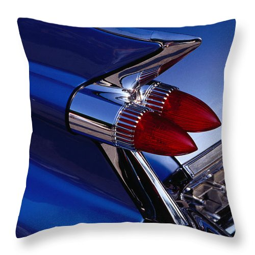 Silver Colored Throw Pillow featuring the photograph Detail Of An American Cadillac, Eze by Richard I'anson