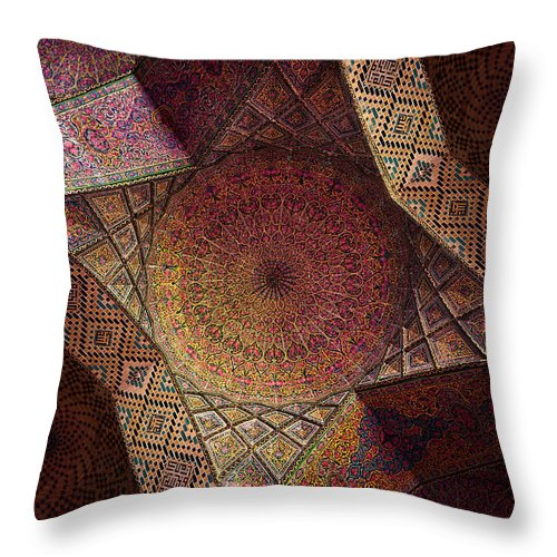 East Throw Pillow featuring the photograph Detail Of The Ceiling Tilework by Len4foto