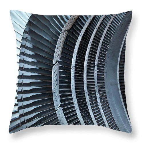Manufacturing Equipment Throw Pillow featuring the photograph Detail Of Turbine by Monty Rakusen