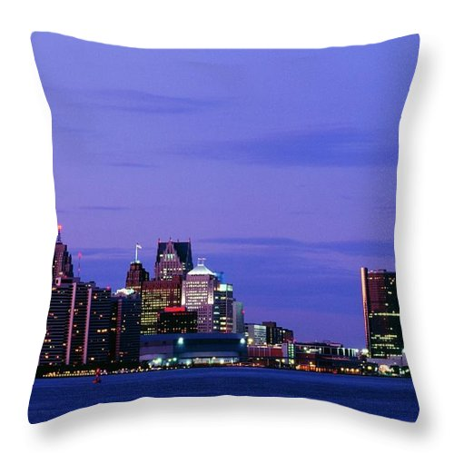 Downtown District Throw Pillow featuring the photograph Detroit Skyline At Night In Usa by Design Pics