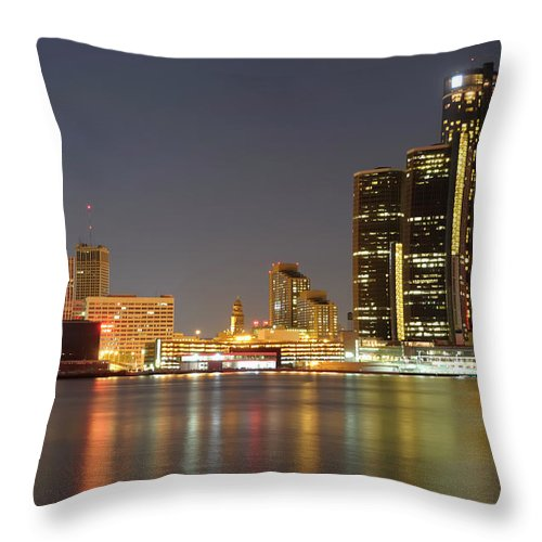 Downtown District Throw Pillow featuring the photograph Detroit Skyline At Night by Rivernorthphotography