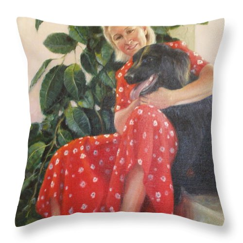 Realism Throw Pillow featuring the painting Diane and Cinder by Donelli DiMaria