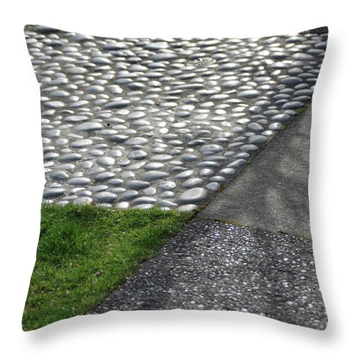 Grass Throw Pillow featuring the photograph Different Textures Of Sidewalk, And by Aaron Mccoy