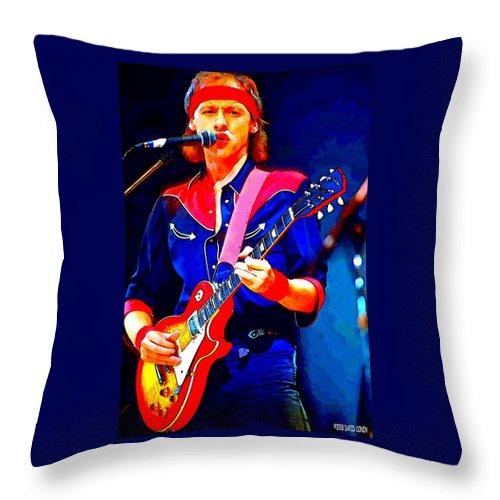 David Conin Art Throw Pillow featuring the digital art Dire Straits Mark Knopfler by David Conin