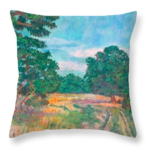 Landscape Throw Pillow featuring the painting Dirt Road Near Rock Castle Gorge by Kendall Kessler