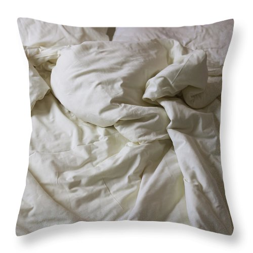 Hotel Throw Pillow featuring the photograph Discarded Bed, Early Morning by Julio Lopez Saguar