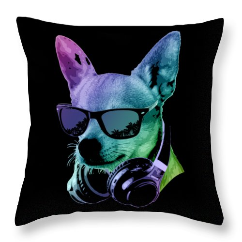 Dog Throw Pillow featuring the digital art DJ Chihuahua by Filip Schpindel