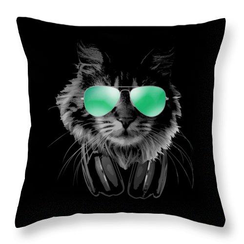 Cat Throw Pillow featuring the digital art Dj Furry Cat by Filip Schpindel