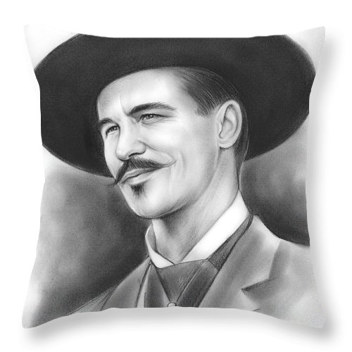 Doc Holliday Throw Pillow featuring the drawing Doc Holliday by Greg Joens