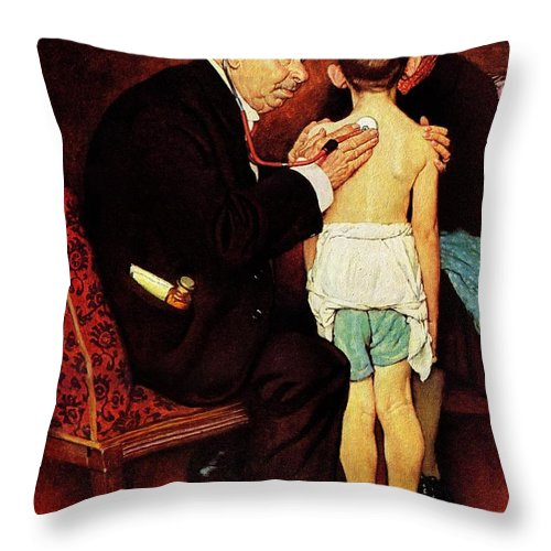 Doctor Throw Pillow featuring the drawing Doc Melhorn And The Pearly Gates by Norman Rockwell