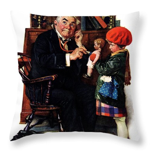 Doctors Throw Pillow featuring the drawing Doctor And The Doll by Norman Rockwell