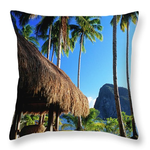 Tropical Tree Throw Pillow featuring the photograph Dolarog Beach Resort With Inabuyatan by Dallas Stribley