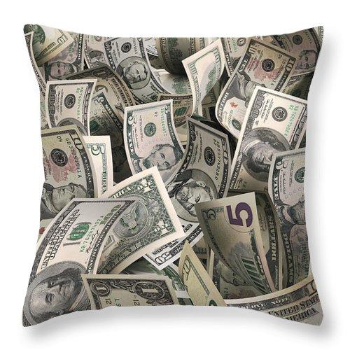 Five Dollar Bill Throw Pillow featuring the photograph Dollars by Ktsfotos