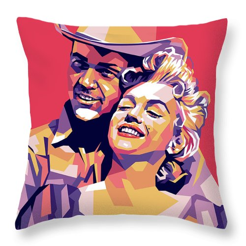 Don Throw Pillow featuring the digital art Don Murray and Marilyn Monroe by Stars on Art