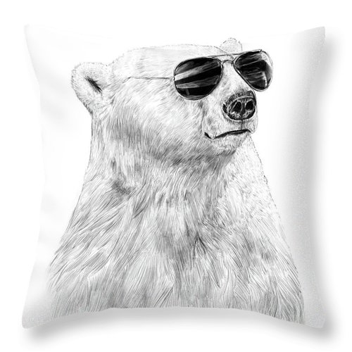 Polar Bear Throw Pillow featuring the drawing Don't Let The Sun Go Down by Balazs Solti