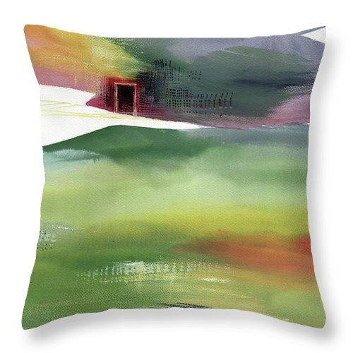 Nature Throw Pillow featuring the painting Door 4 by Anil Nene