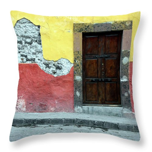 Built Structure Throw Pillow featuring the photograph Doorway Of Colorful Building In Mexico by Tankbmb